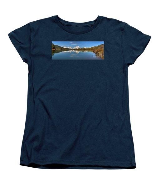 Mt. Moran Reflections At Oxbow Women's T-Shirt (Standard Cut) by Adam Jewell