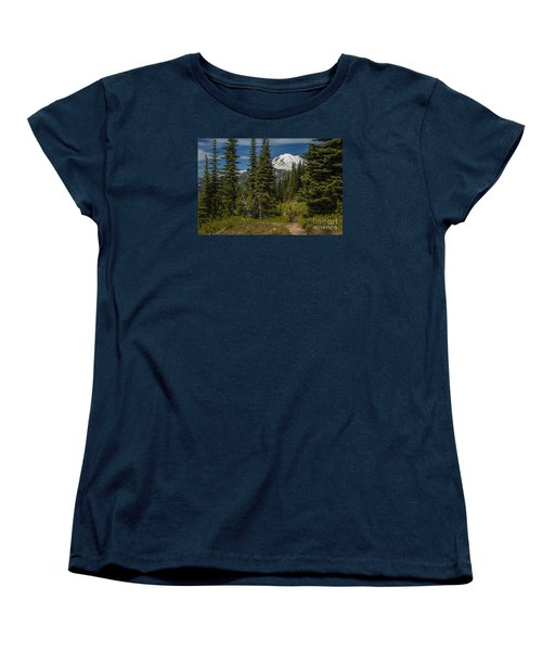 Mt. Rainier Naches Trail Landscape Women's T-Shirt (Standard Cut) by Chuck Flewelling