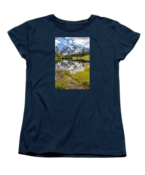 Mt Shuksan On Picture Lake 2 Women's T-Shirt (Standard Cut) by Rob Green