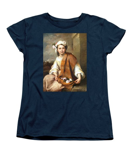 Women's T-Shirt (Standard Cut) featuring the painting Muchacha Con Flores by Pg Reproductions
