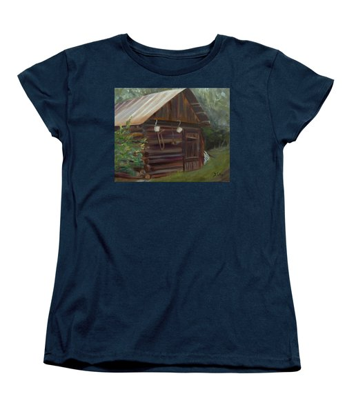 Women's T-Shirt (Standard Cut) featuring the painting Mulberry Farms Grainery by Donna Tuten