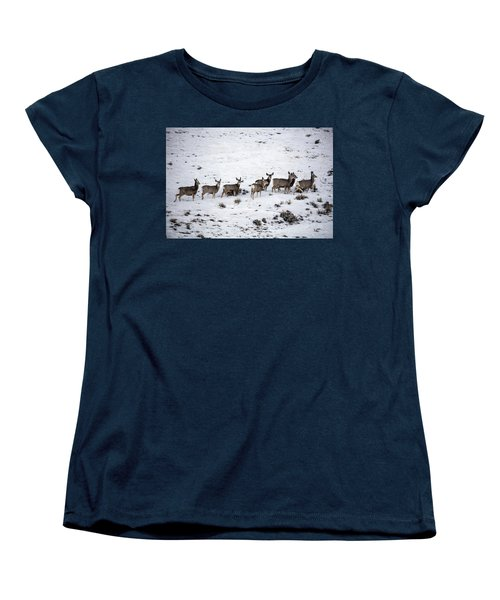 Muledeer Gather On A Snowy Hillside In Sweetwater County In Wyoming Women's T-Shirt (Standard Cut) by Carol M Highsmith