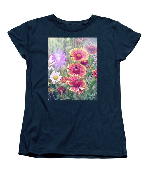 Multi Coloured Flowers With Bee Women's T-Shirt (Standard Cut) by Lynn Bolt