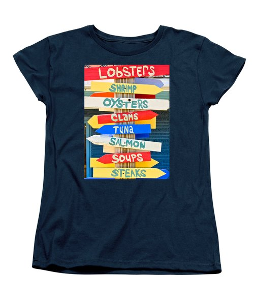 Multi Direction Food Sign Women's T-Shirt (Standard Cut) by Colleen Kammerer