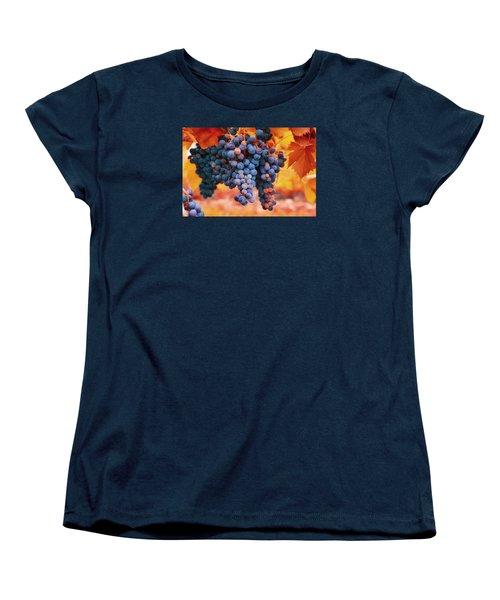 Multicolored Grapes Women's T-Shirt (Standard Cut) by Lynn Hopwood