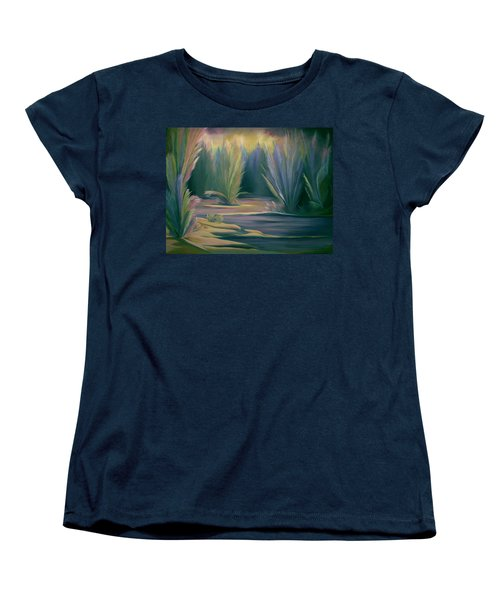 Women's T-Shirt (Standard Cut) featuring the painting Mural Field Of Feathers by Nancy Griswold