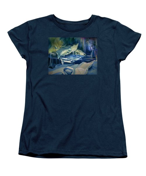 Women's T-Shirt (Standard Cut) featuring the painting Mural Skulls Of Lifes Past by Nancy Griswold