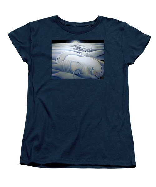 Women's T-Shirt (Standard Cut) featuring the painting Mural  Winters Embracing Crevice by Nancy Griswold