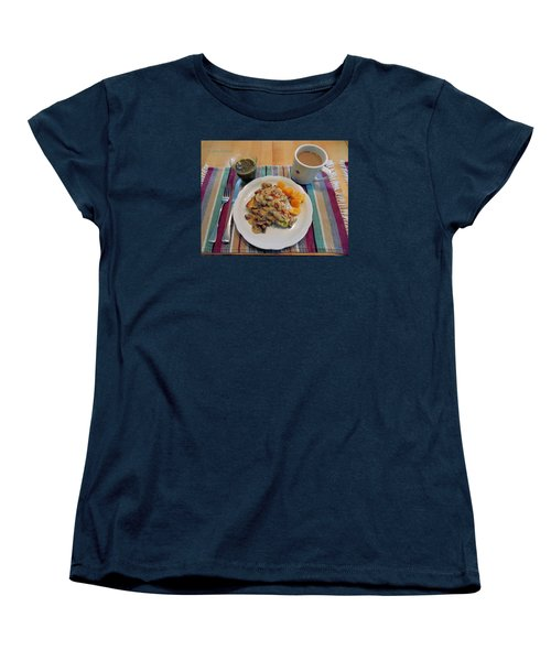Women's T-Shirt (Standard Cut) featuring the digital art Mushroom Gravy Over Breakfast Quiche  by Jana Russon