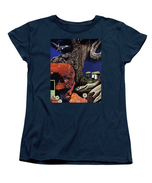 Women's T-Shirt (Standard Cut) featuring the painting Mushroom People - Collage by Linda Apple