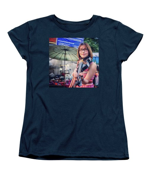 Music On The Streets, Chiang Mai Women's T-Shirt (Standard Cut) by Aleck Cartwright