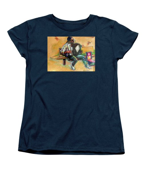 Women's T-Shirt (Standard Cut) featuring the drawing Musician With Accordion by Stan Esson