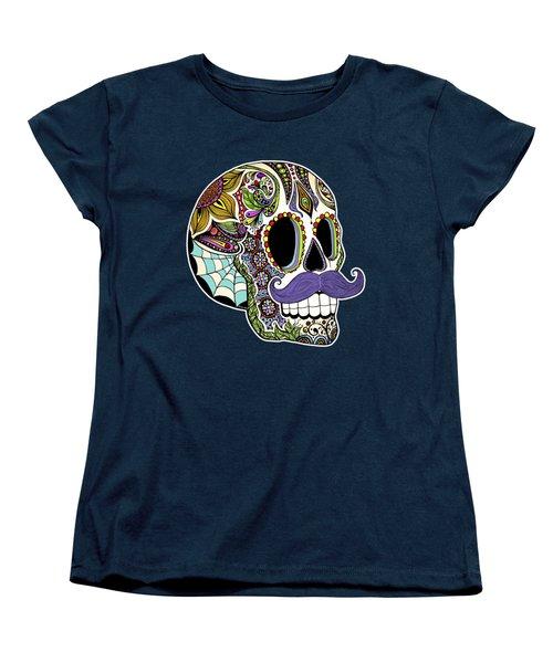 Mustache Sugar Skull Women's T-Shirt (Standard Fit)
