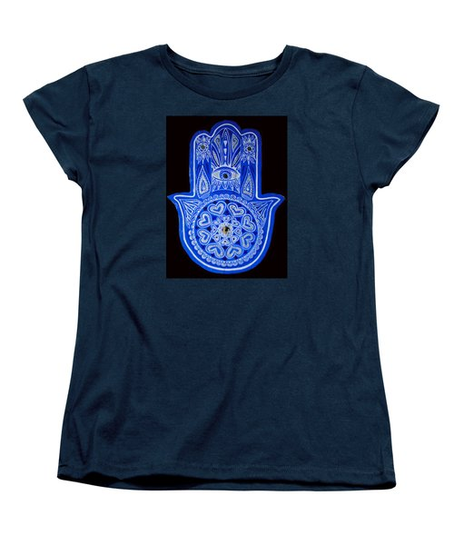 Women's T-Shirt (Standard Cut) featuring the painting My Blue Hamsa by Patricia Arroyo