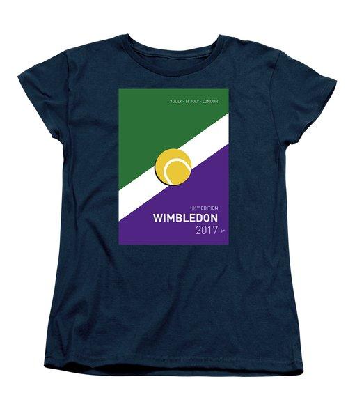 Women's T-Shirt (Standard Cut) featuring the digital art My Grand Slam 03 Wimbeldon Open 2017 Minimal Poster by Chungkong Art