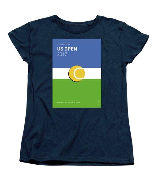 Women's T-Shirt (Standard Cut) featuring the digital art My Grand Slam 04 Us Open 2017 Minimal Poster by Chungkong Art