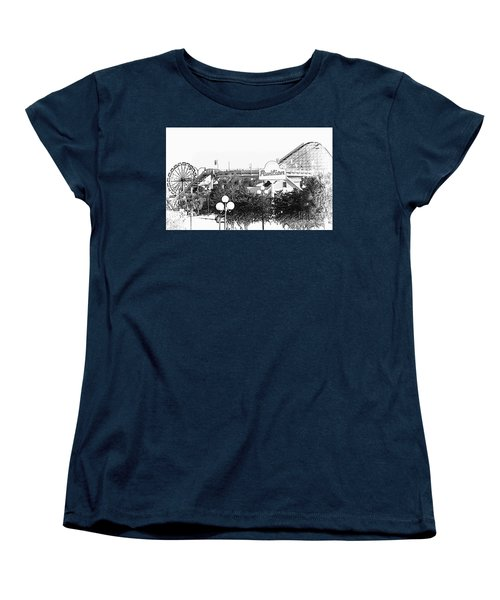 Myrtle Beach Pavillion Amusement Park Monotone Women's T-Shirt (Standard Cut) by Bob Pardue