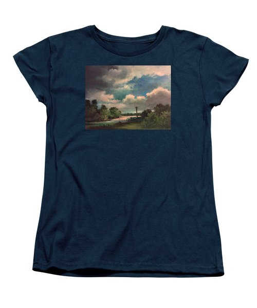 Women's T-Shirt (Standard Cut) featuring the painting Mystery Of God  The Eye Of God by Randol Burns