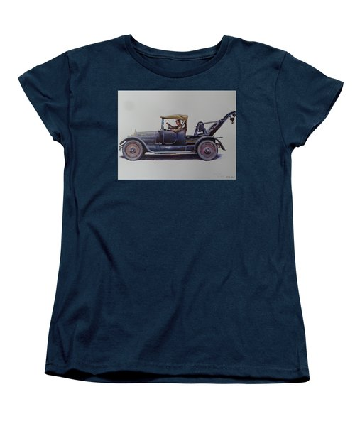 Women's T-Shirt (Standard Cut) featuring the painting Mystery Wrecker 1930. by Mike  Jeffries