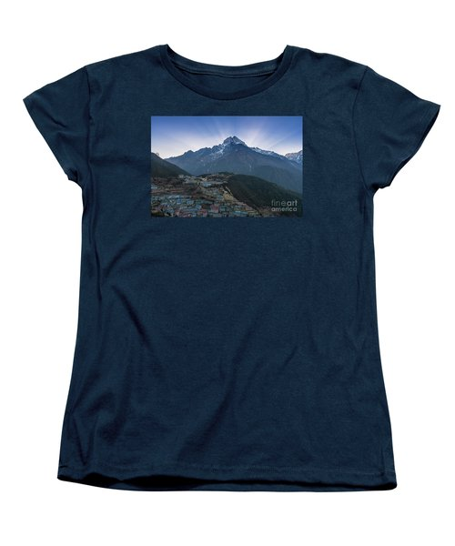 Women's T-Shirt (Standard Cut) featuring the photograph Namche And Thamserku Peak Morning Sunrays by Mike Reid