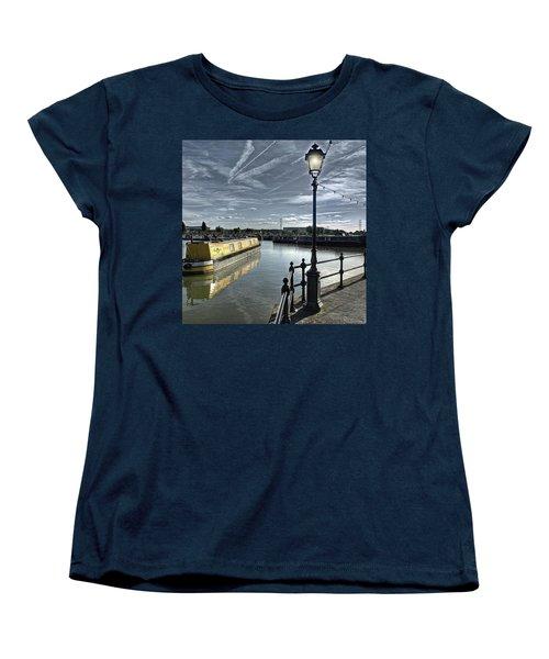 Narrowboat Idly Dan At Barton Marina On Women's T-Shirt (Standard Cut) by John Edwards
