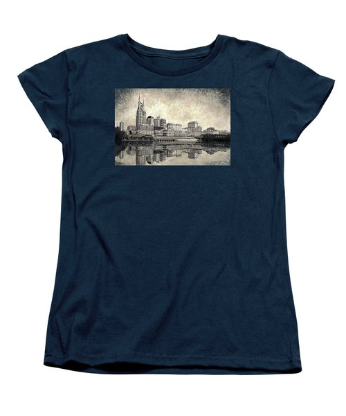 Women's T-Shirt (Standard Cut) featuring the mixed media Nashville Skyline II by Janet King