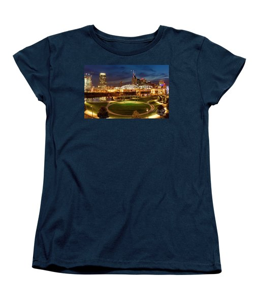 Women's T-Shirt (Standard Cut) featuring the photograph Nashville Twilight Skyline by Brian Jannsen