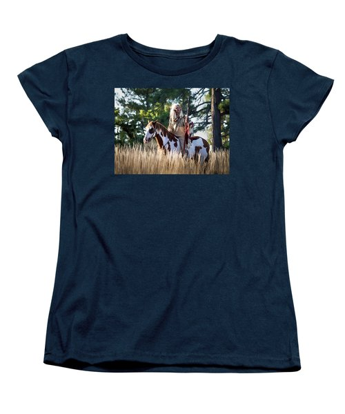 Native American In Full Headdress On A Paint Horse Women's T-Shirt (Standard Cut) by Nadja Rider
