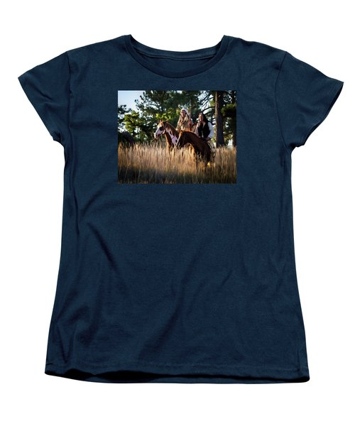 Native Americans On Horses In The Morning Light Women's T-Shirt (Standard Cut) by Nadja Rider