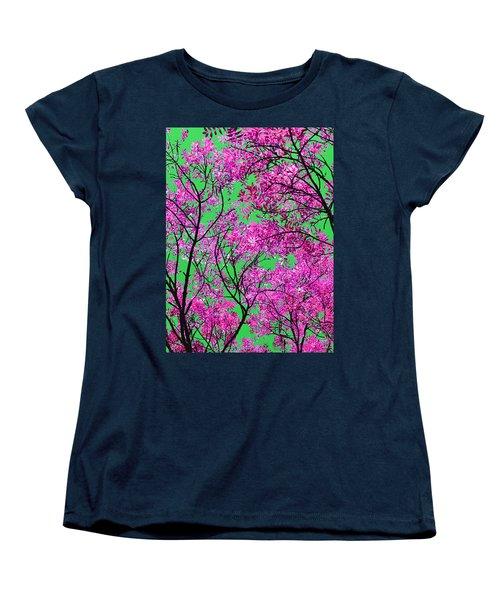 Natures Magic - Pink And Green Women's T-Shirt (Standard Cut) by Rebecca Harman