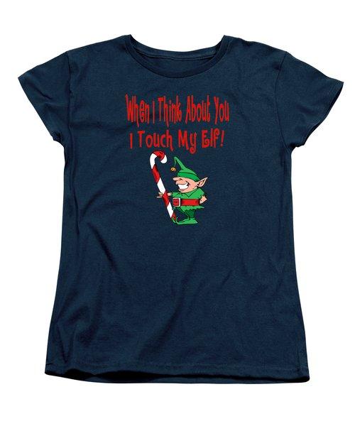 Naughty Christmas Elf Women's T-Shirt (Standard Cut) by Susan Cooper