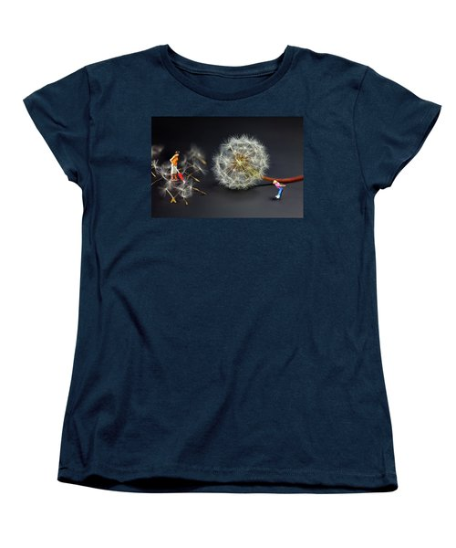 Women's T-Shirt (Standard Cut) featuring the painting Naughty Girl Playing Dandelion Little People Big World by Paul Ge