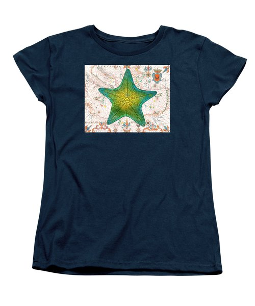 Women's T-Shirt (Standard Cut) featuring the painting Nautical Treasures-l by Jean Plout