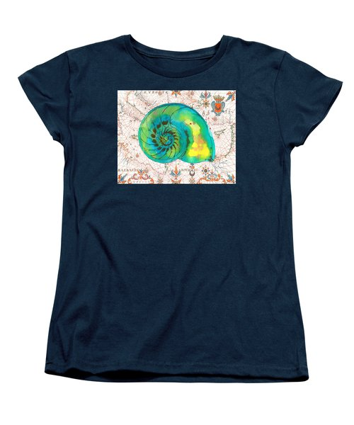 Women's T-Shirt (Standard Cut) featuring the painting Nautical Treasures-n by Jean Plout
