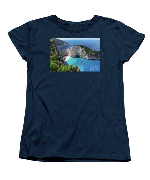 Navagio Beach Women's T-Shirt (Standard Cut) by Anastasy Yarmolovich