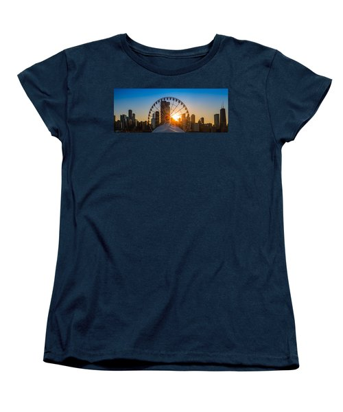 Navy Pier Sundown Chicago Women's T-Shirt (Standard Cut) by Steve Gadomski