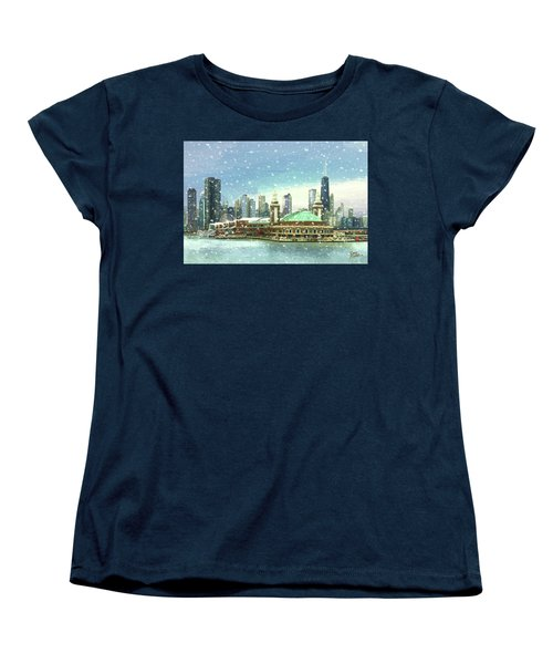 Women's T-Shirt (Standard Cut) featuring the painting Navy Pier Winter Snow by Doug Kreuger