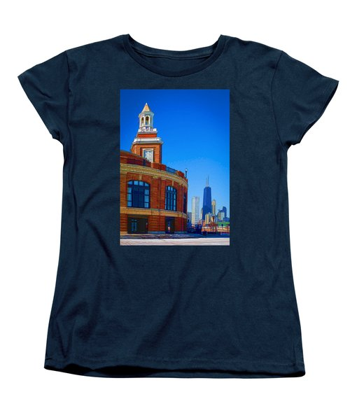Women's T-Shirt (Standard Cut) featuring the photograph Navy Pier With Texture by Kathleen Scanlan