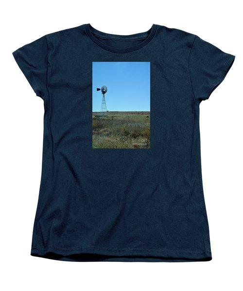 Women's T-Shirt (Standard Cut) featuring the photograph Nebraska Windmill by Mark McReynolds
