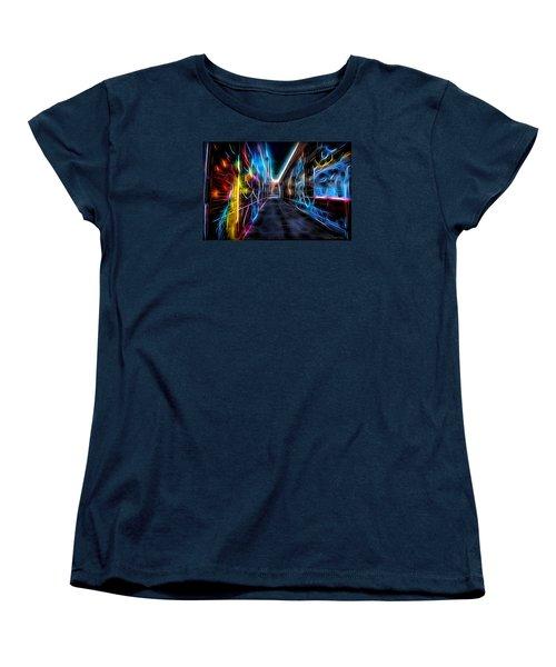 Women's T-Shirt (Standard Cut) featuring the photograph Neon Aleey by Michaela Preston