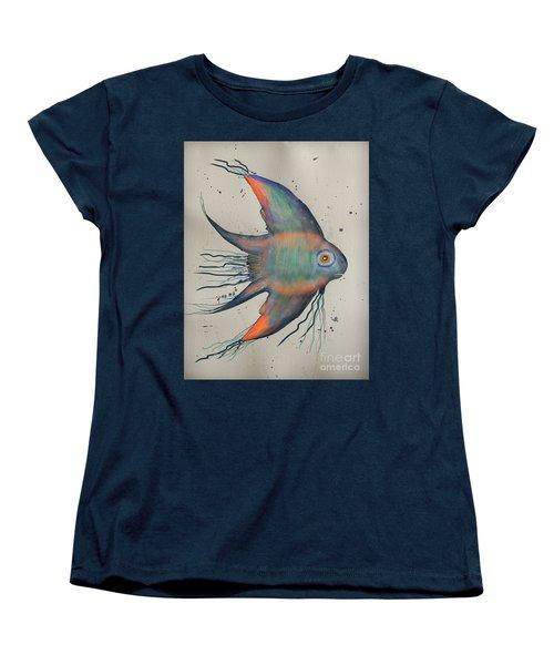 Women's T-Shirt (Standard Cut) featuring the mixed media Neon Blue Fish by Walt Foegelle