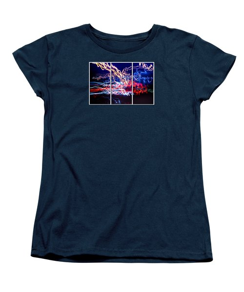 Neon Ufa Triptych Number 1 Women's T-Shirt (Standard Cut) by John Williams