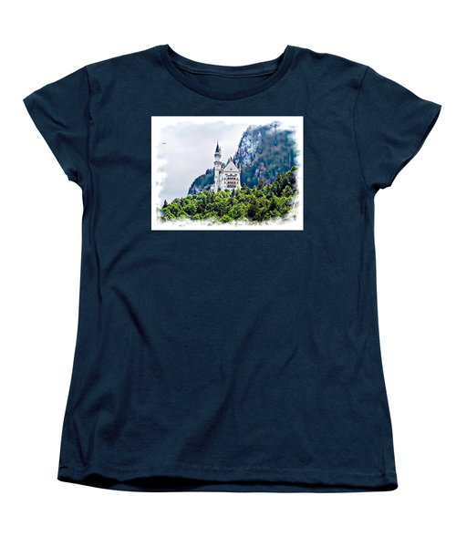 Women's T-Shirt (Standard Cut) featuring the photograph Neuschwanstein Castle With A Glider by Joseph Hendrix