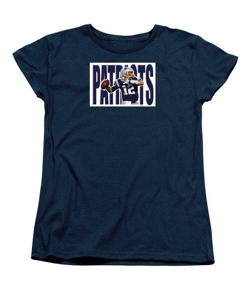 Women's T-Shirt (Standard Cut) featuring the digital art New England Patriots by Stephen Younts