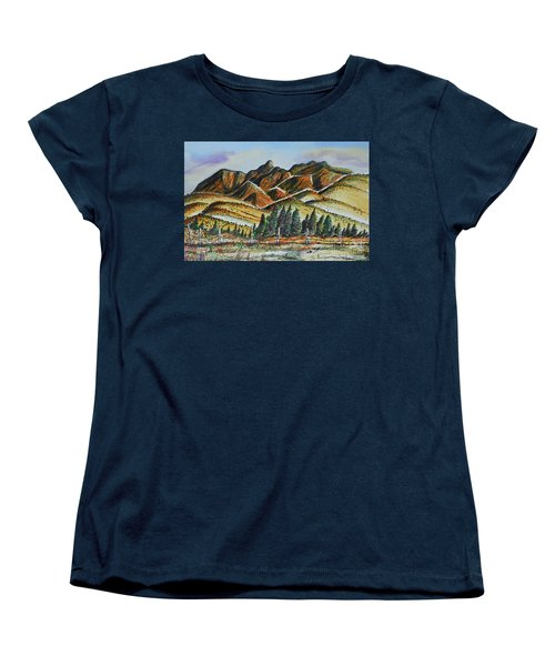 Women's T-Shirt (Standard Cut) featuring the painting New Mexico Back Country by Terry Banderas