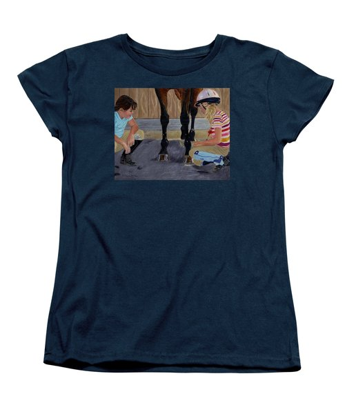 New Shoe Review Horse And Children Painting Women's T-Shirt (Standard Cut) by Patricia Barmatz