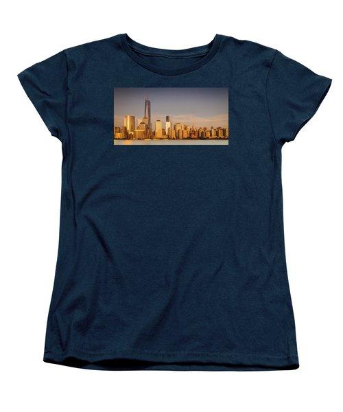 New World Trade Memorial Center And New York City Skyline Panorama Women's T-Shirt (Standard Cut) by Ranjay Mitra