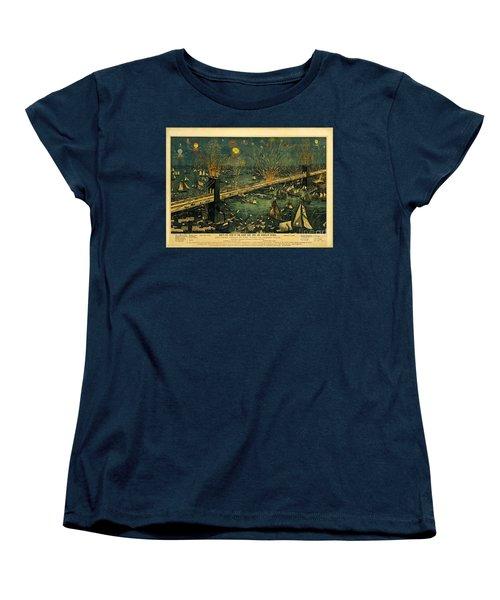 New York And Brooklyn Bridge Opening Night Fireworks Women's T-Shirt (Standard Cut) by John Stephens