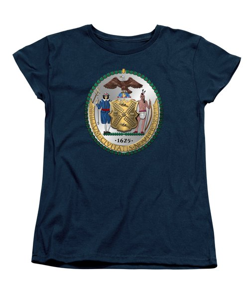 New York City Coat Of Arms - City Of New York Seal Over Blue Velvet Women's T-Shirt (Standard Cut) by Serge Averbukh