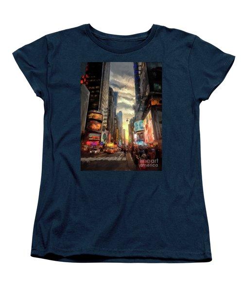 Women's T-Shirt (Standard Cut) featuring the photograph New York City Lights by Lois Bryan